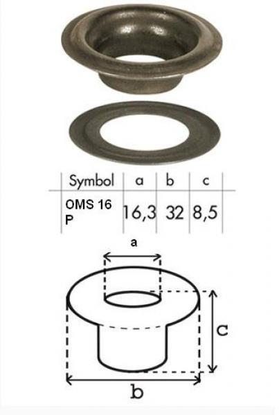 Oczko nierdzewne 16,3mm OMS16/P